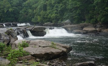 Valley Falls, Valley Falls State Park in Fairmont, WV. Rainy day.